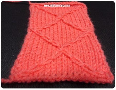 como hacer un rombo tejido en dos agujas