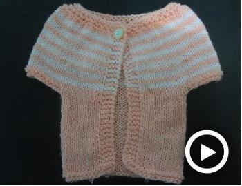 Chaqueta para niña tejido dos agujas
